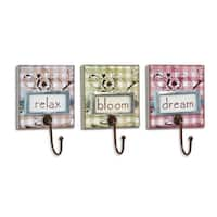 """Pack of 6 Country Rustic Floral on Gingham Inspirational Phrases Wall Hooks 8.5"""" - Green"""