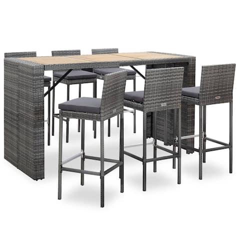 vidaXL 7 Piece Outdoor Bar Set with Cushions Poly Rattan Gray