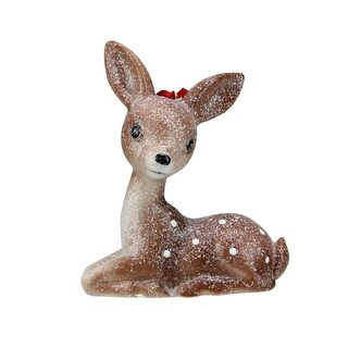 5 Brown Glittered Seated Fawn Deer Figurine Christmas Tree Ornament