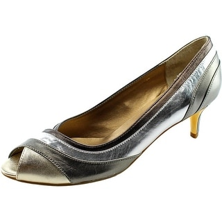 Vaneli Candace Women N/S Peep-Toe Leather Heels