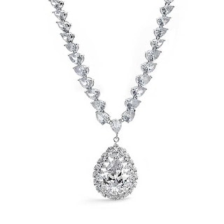 Link to Bride Prom Teardrop CZ V Collar Statement Necklace Silver Plated Brass Similar Items in Necklaces
