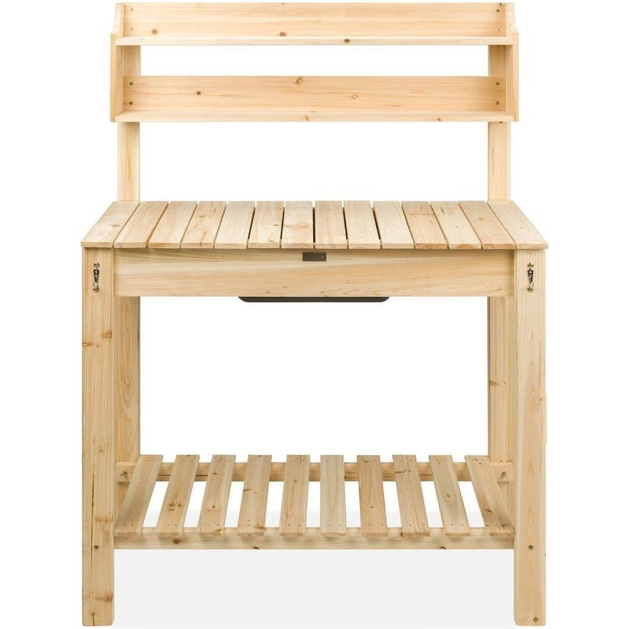 Lakewood 3 Person Swing, Shop Outdoor Garden Wood Potting Bench Expandable Top With Food Grade Plastic Sink Natural Overstock 32072457