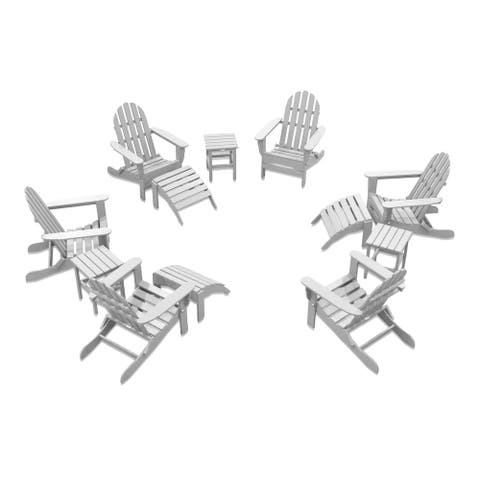 Nelson 6-piece Adirondack Chair Set with 3 Ottomans and 3 Side Tables by Havenside Home