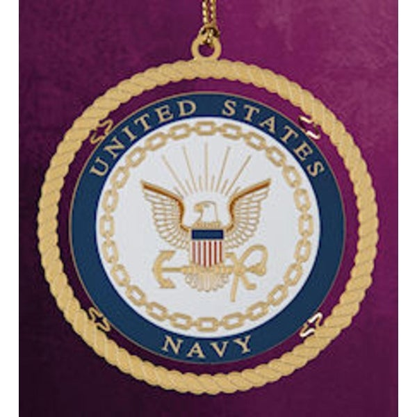 """ChemArt 2.5"""" Collectible Keepsakes United States Navy Christmas Ornament - GOLD"""