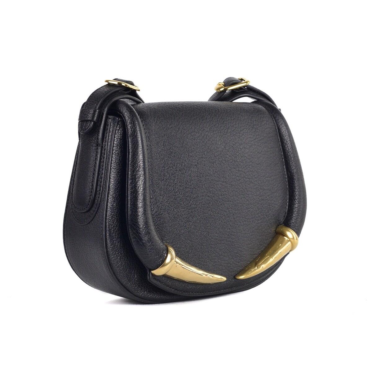 Roberto Cavalli Womens Black Grained Leather Tusk Shoulder Bag~RTL$1695