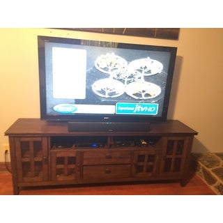 WYNDENHALL Stratford Natural Aged Brown Solid Pine 72inch TV Media