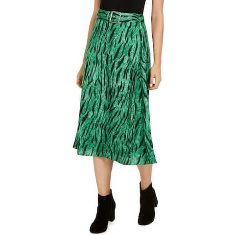 INC International Concepts Women's Belted Printed Midi Skirt Green Size 10