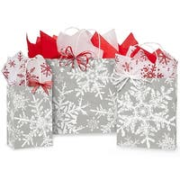 Pack Of 125, Assortment Christmas Snowflakes Silver Paper Shopping Bag 50 Rose, 50 Cub & 25 Vogue Made In Usa