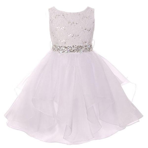 White Lace Ruffle Dress Girls