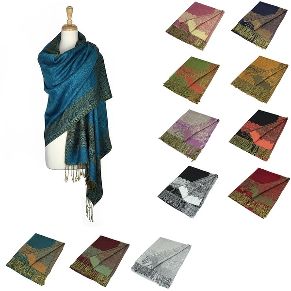 "Pashmina Shawl Scarf Wrap Border Pattern Double Layered Reversible - 28"" x 70"". Opens flyout."