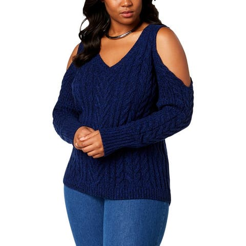 Love Scarlett Womens Plus V-Neck Sweater Cable Knit Cold Shoulder