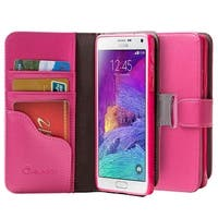 i-Blason-Samsung Galaxy Note 4 Case-Slim Leather Book Wallet Cover-Pink