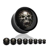 Black Acrylic Saddle Plug (Sold Individually) with Mummy Skull (Sold Individually)