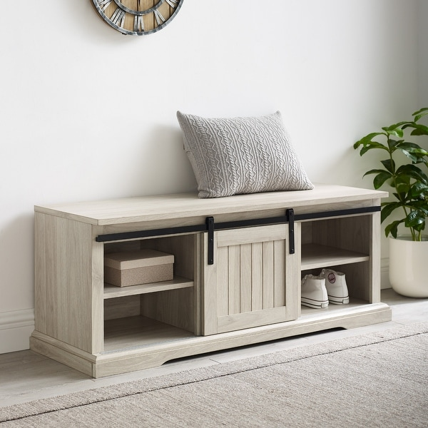 The Gray Barn Sliding Groove Door Entry Bench. Opens flyout.