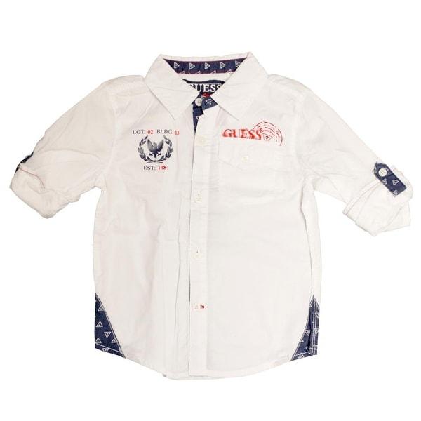 Guess Kids Boys 12-24 Months Roll Cuff Woven Shirt - White