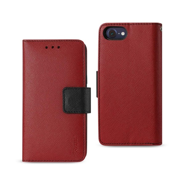 REIKO IPHONE 7 3-IN-1 WALLET CASE IN RED
