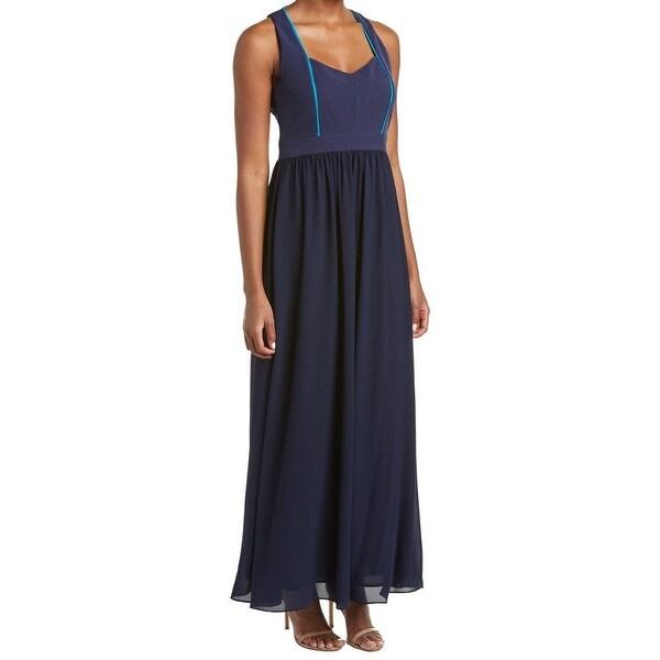 Shop Badgley Mischka Navy Blue Womens Size 6 Penelope V-Neck Maxi ...