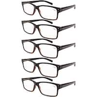 Men 5-pack Spring Hinges Vintage Reading Glasses Readers Black-Yellow Tortoise +1.75