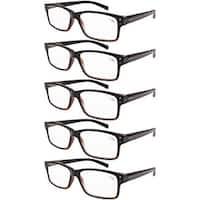 Men 5-pack Spring Hinges Vintage Reading Glasses Readers Black-Yellow Tortoise +3.0