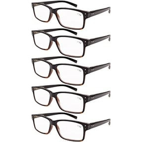 Eyekepper 5-pack Spring Hinges Vintage Reading Glasses Men Readers Black-Yellow Tortoise +4.0