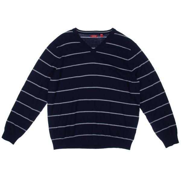 Izod Mens Knit Striped V-Neck Sweater