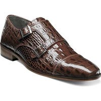 Stacy Adams Men's Golato Cap Toe Double Monk Strap 25117 Cognac Hornback Print Leather