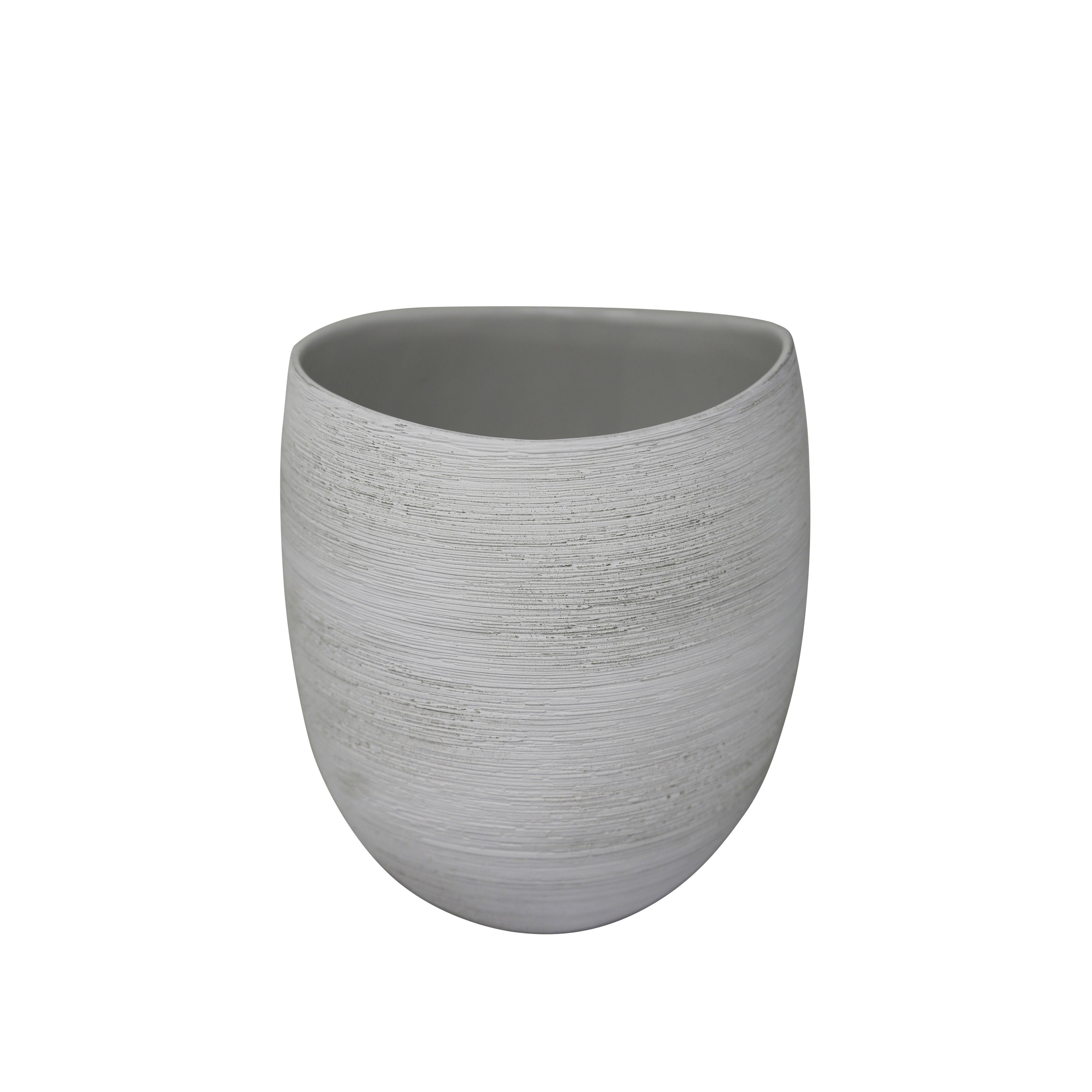 Ceramic Tapered Vase with Distressed Details, Small, White