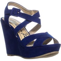 AR35 Rachey Wedge Platform Peep-Toe Sandals, Blue - 6.5 us