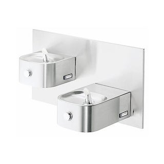 Elkay EDFP217FPK ADA Wall Mount Bi-Level Soft Sides Fountain with VR Bubbler, Freeze Protection and Cane Apron