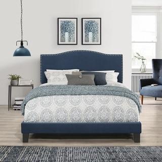 Link to Porch & Den Olney Blue Velvet Upholstered Bed Similar Items in Bedroom Furniture