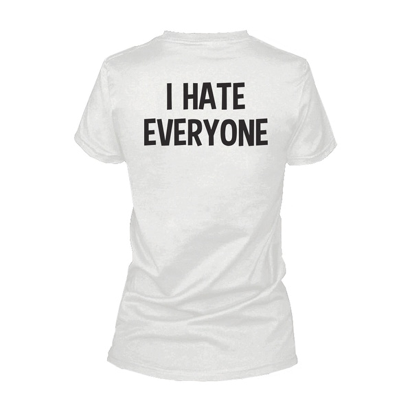 I Hate Everyone Back Print Women's Shirt Graphic T-shirt Short Sleeve Tee Funny Shirt