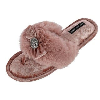 Pretty You London Women's Amelie Thong Slide Slipper with Bow and Rhinestone