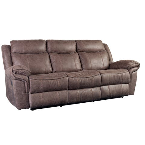 Porter Designs Carrizo Transitional Leather-Look Reclining Sofa, Brown