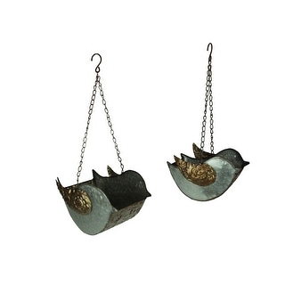 Galvanized Finish Embossed Set of 2 Hanging Metal Bird Planters - 7.5 X 9.75 X 6.25 inches