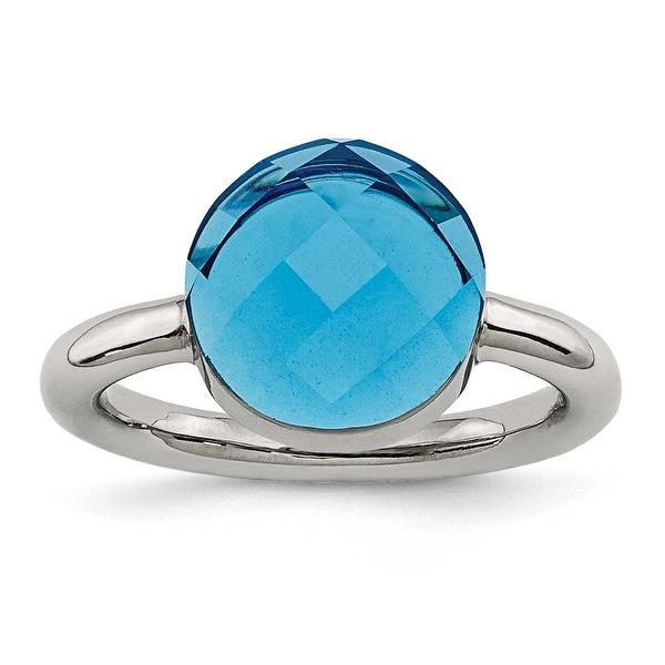 Chisel Stainless Steel Polished Blue Glass Ring