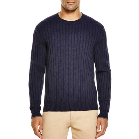 Bloomingdales Mens 2-Ply Cashmere Crewneck Ribbed Sweater Large L Navy Knitwear