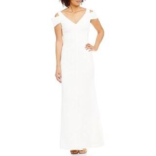 Calvin Klein Cold Shoulder Plunging V-Neck Gown, 4