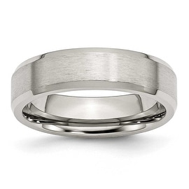 Chisel Beveled Edge Brushed and Polished Flat Stainless Steel Ring (6.0 mm)