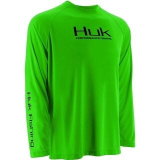 Huk Men's Raglan Neon Green Medium Performance Long Sleeve Shirt