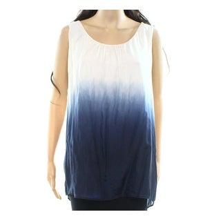 Karen Kane NEW Blue Womens Size Large L Ombre Scoop-Neck Tank Top