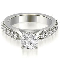 1.70 cttw. 14K White Gold Cathedral Round Cut Eternity Diamond Engagement Ring