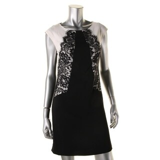 Laundry by Shelli Segal Womens Lace Trim Sleeveless Wear to Work Dress