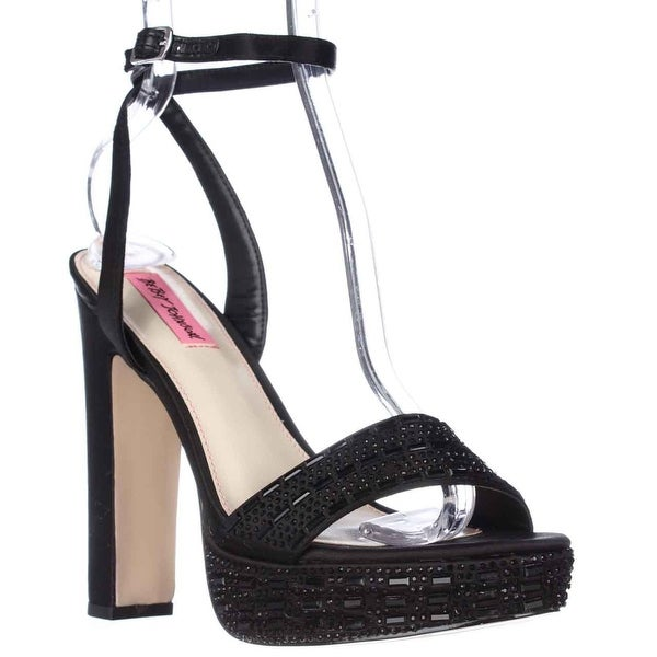 Betsey Johnson Alliie Ankle Strap Platform Dress Sandals - Black, 8 US