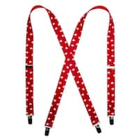 CTM® Women's Elastic 1 Inch Wide Clip-End Heart Suspenders
