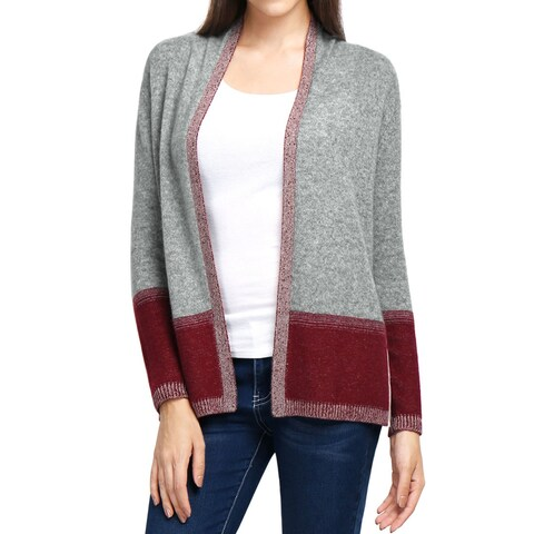 Women 100% Cashmere Contrast Color Plaited Cardigan Sweater