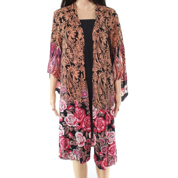 Angie Orange Black Printed Floral Print Medium M Kimono Jacket