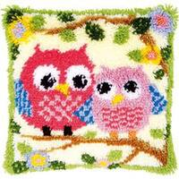 """Vervaco Cushion Latch Hook Kit 16""""X16""""-Owls On A Branch"""