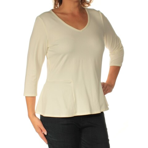 NY COLLECTION Womens Ivory 3/4 Sleeve V Neck Top Size: L