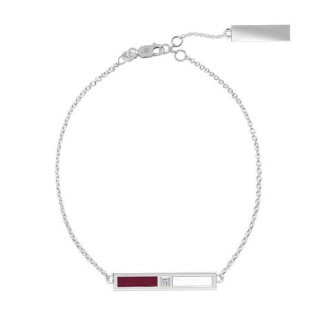 Texas A&M University Sterling Silver Diamond Bar Chain Bracelet In Maroon & White