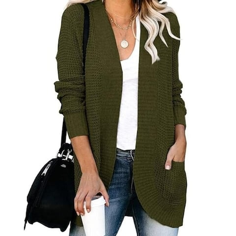 Open Front Knit Cardigan Sweaters With Pockets